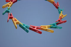 Plastic clip. Different color plastic clip on air Royalty Free Stock Photo