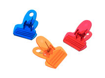 Plastic clips on a white background Stock Images