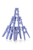 Plastic clothes pegs Royalty Free Stock Images