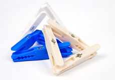 Plastic clothes pegs Stock Photography