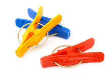 Plastic clothes pegs Royalty Free Stock Photos