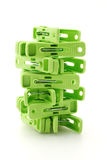 Plastic clothes pegs tower Royalty Free Stock Photo