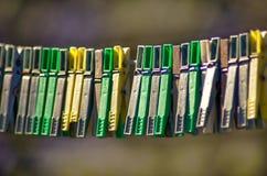 Plastic clothes pins Stock Photo