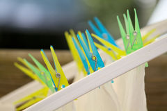 Plastic Clothespin. Colorful clothespin used for drying clothes on a line Royalty Free Stock Images