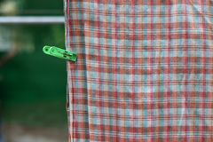 Plastic clothespin green pin and  chintz drying. On washing line Royalty Free Stock Photos