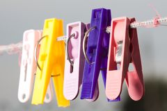Plastic clothespins Stock Photo