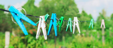 Plastic clothespins laundry hook colorful rop Royalty Free Stock Image