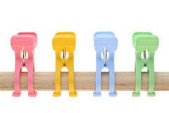 Plastic clothespins Royalty Free Stock Photos