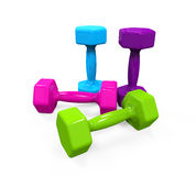 Plastic Coated Dumbbells. Isolated on white background. 3D render Stock Photography