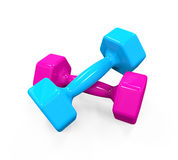Plastic Coated Dumbbells. Isolated on white background. 3D render Stock Photos