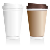 Plastic coffee cup. Templates over white background Stock Photos