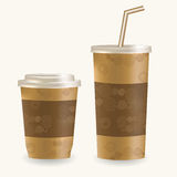 Plastic coffee cup ans disposable cup for beverages with straw over white background. Royalty Free Stock Images