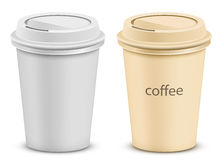 Plastic coffee cup with lid Stock Images