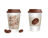 Plastic Coffee Cup Set with Beans and Can't leave without coffee Inscription. Vector Isolated icon Illustration Stock Images