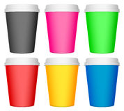 Plastic coffee cup set Stock Photos
