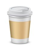 Plastic coffee cups with lid Stock Images