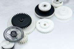 Plastic cogwheels for industrial equipment. machinery details. Plastic cogwheels for industrial equipment closeup. machinery details Royalty Free Stock Photography