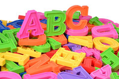 Plastic colored alphabet letters ABC Royalty Free Stock Images