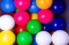 Plastic colored children balls. Bright round balls for children pools and games stock images
