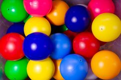 Plastic colored children balls. Bright round balls for children pools and games stock image