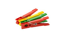 Plastic colored clothespins Royalty Free Stock Images