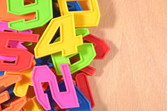 Plastic colored numbers Royalty Free Stock Images