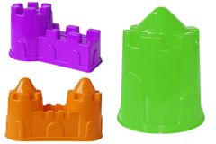 Plastic colored shapes for children play with sand, isolated on. A white background. Baby plastic molds to build a sand Castle royalty free stock image