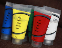 Plastic colored tubes Stock Images