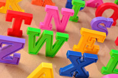 Plastic colorful alphabet letters close up Stock Image