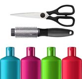 Plastic colorful bottles shampoo, scissors and black comb Royalty Free Stock Photo