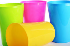Plastic colorful cups close up Stock Photo