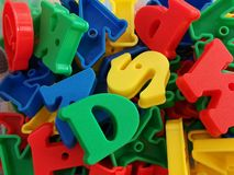 Plastic colorful letters . Alphabet background royalty free stock photos