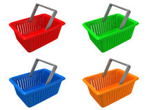 Plastic colorful shopping basket set. 3d Stock Photography