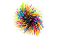 Plastic colorful straws Royalty Free Stock Photos