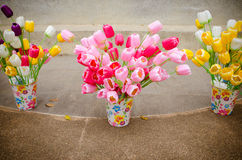 Plastic colorful tulip flower in pot Stock Images