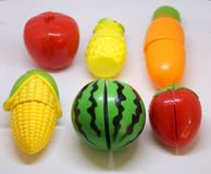 Plastic vegetables and fruits Stock Photos