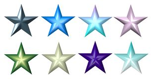 Plastic colourful 5-ray stars Stock Photo