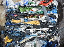 Plastic compressed for recycling Stock Images