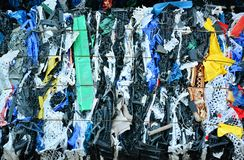 Plastic compressed for recycling Royalty Free Stock Image