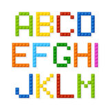 Plastic construction blocks alphabet Stock Photos