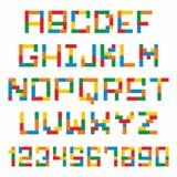 Plastic construction blocks alphabet. Alphabet set made of toy construction brick blocks isolated isolated on white Stock Photo