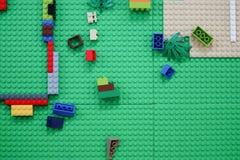 Plastic construction toy bricks Stock Photos