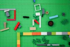 Plastic construction toy bricks Stock Photo