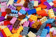 Plastic construction toys stock images
