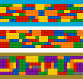 Plastic constructor in horizontal order, set of different color pieces Stock Images