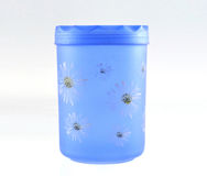 Plastic container. Blue plastic container with lid Royalty Free Stock Image