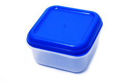Plastic container. A plastic container isolated on a white background royalty free stock photo