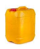 Plastic container. Yellow plastic container with lid and handle on white Royalty Free Stock Images