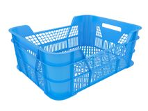 Plastic container. Plastic crate  isolated on white background. 3D image Royalty Free Stock Image