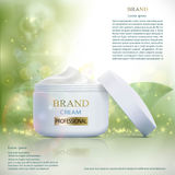 Plastic container with cosmetic cream on a natural background. S Royalty Free Stock Photography